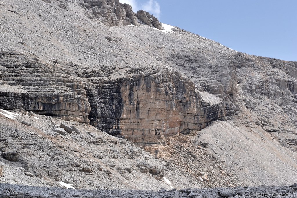 Fault bend-fold in stratified limestones near Piz Boè summit (Sella Group)